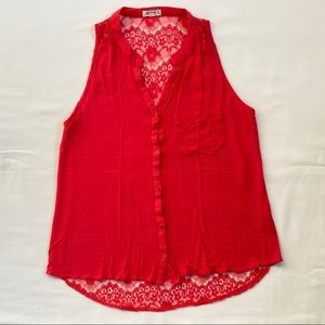 3/20$ Ardene Pink Lace Dressy Buttonup Top